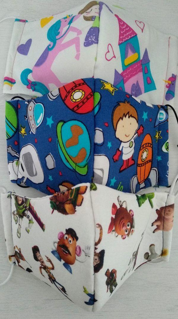 Mascarilla de tela infantil personajes Disney